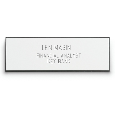 1 x 3 White Plastic Name Badge