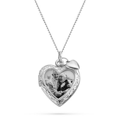Sterling Silver Open Heart Locket with Heart Charm with complimentary Filigree Keepsake Box - UPC 825008359352