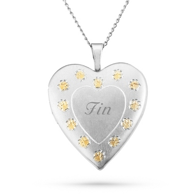Sterling Silver Paw Prints on Your Heart Locket with complimentary Filigree Keepsake Box