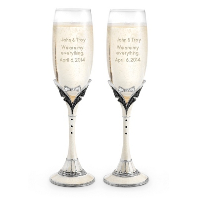 Mr. & Mr. Toasting Flutes - $85.00