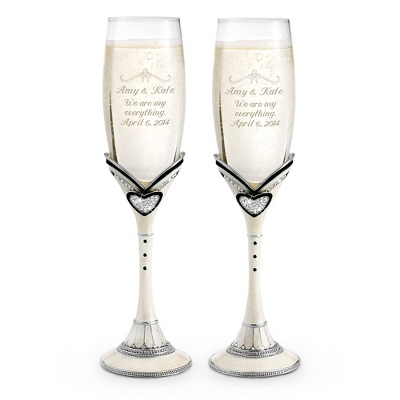 Black Wedding Toasting Flutes