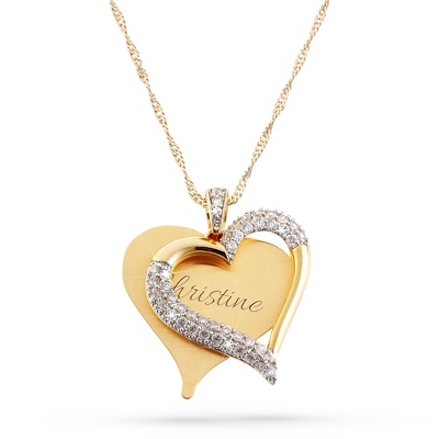 Gold Brushed Heart Necklace with complimentary Filigree Keepsake Box - UPC 825008003538