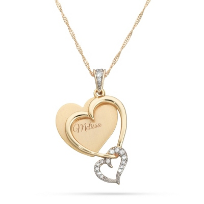 Gold Double Heart Necklace with complimentary Filigree Keepsake Box - Couple's Gifts