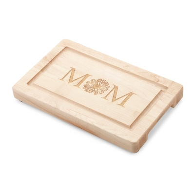 "13"" Maple Rectangle Cutting Board with Mom Design"