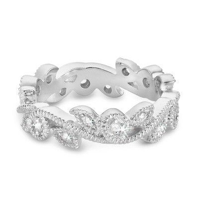 Sterling Silver CZ Scroll Eternity Ring with complimentary Filigree Keepsake Box - Sterling Silver Women's Jewelry