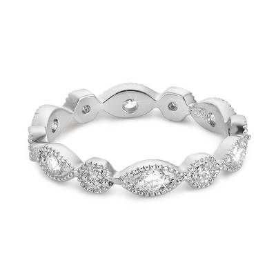 Sterling Silver CZ Petite Eternity Band with complimentary Filigree Keepsake Box - Sterling Silver Women's Jewelry