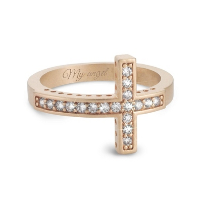 Sterling Silver Gold Plated CZ Cross Ring with complimentary Filigree Keepsake Box - UPC 825008003989