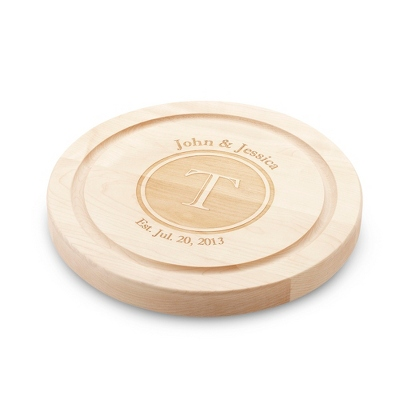 "12"" Round Maple Cutting Board with Shadow Stamp - Keepsakes"