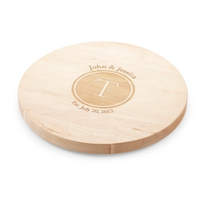 "16"" Lazy Susan Maple Cutting Board with Shadow Stamp - UPC 825008004047"