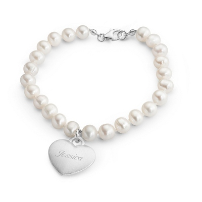 Pearl Bracelet with Brushed Sterling Silver Heart Plaque with complimentary Filigree Keepsake Box - UPC 825008004283