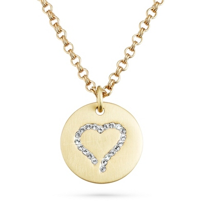 Gold Brushed Crystal Heart Necklace with complimentary Filigree Keepsake Box