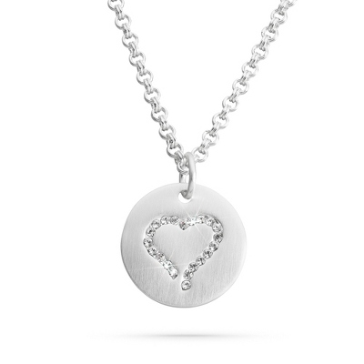 Silver Brushed Crystal Heart Necklace with complimentary Filigree Keepsake Box