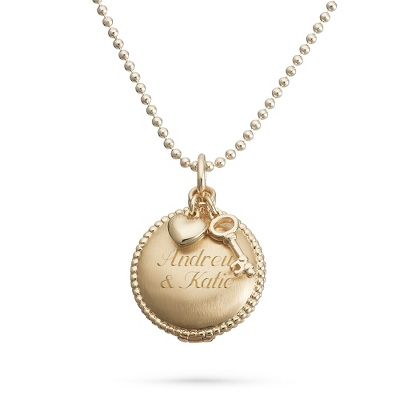 Artisan Gold Round Locket Necklace with Key and Heart Charms with complimentary Filigree Keepsake Box - $24.99