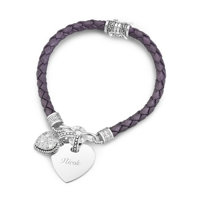 Personalized Purple Braided Leather Bracelet