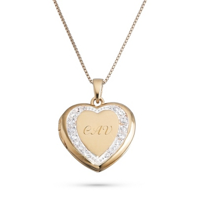 Gold Over Sterling Silver Pave Heart Locket