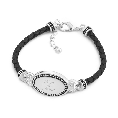 Black Leather Braided Oval ID Bracelet with complimentary Filigree Keepsake Box - Fashion Bracelets & Bangles