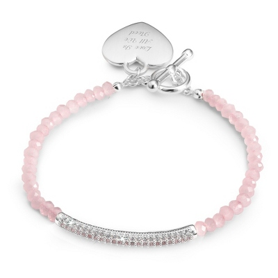 Pink Gemstone Pave Bar Bracelet with complimentary Filigree Keepsake Box