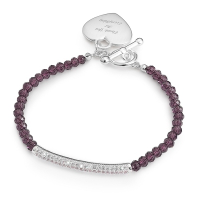 Purple Gemstone Pave Bar Bracelet with complimentary Filigree Keepsake Box