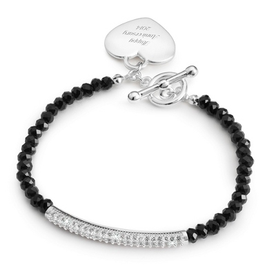 Black Gemstone Pave Bar Bracelet with complimentary Filigree Keepsake Box