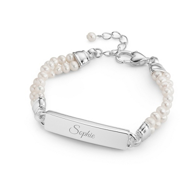 Girl's Freshwater Pearl ID Bracelet with complimentary Filigree Heart Box - Flower Girl