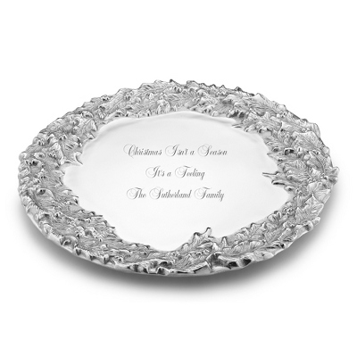 Mariposa Recycled Aluminum Holly Wreath Platter