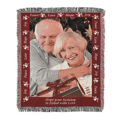 Portrait Joy Photo Throw with Red Border