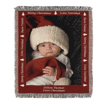 Portrait Merry Christmas Photo Throw with Red Border
