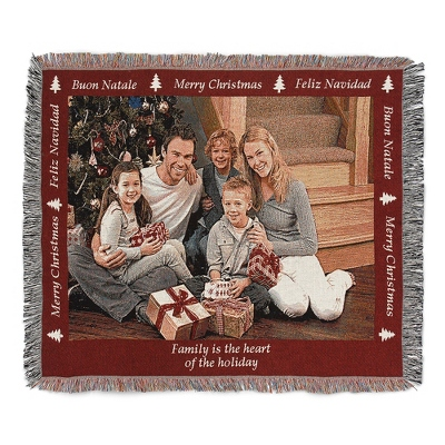 Landscape Merry Christmas Photo Throw with Red Border