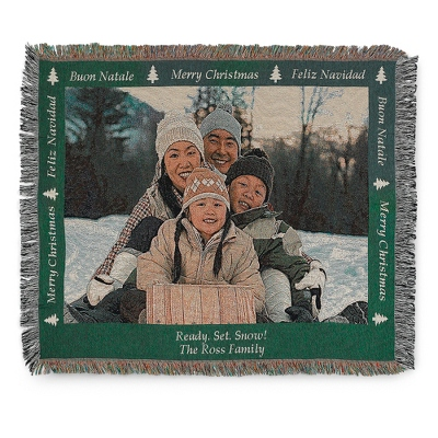 Landscape Merry Christmas Photo Throw with Green Border