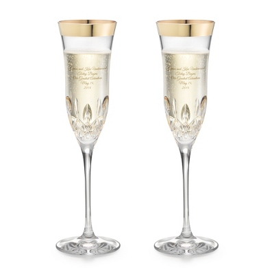 Waterford Lismore Essence Wide Gold Band Flutes - Elegant Wedding