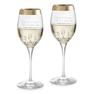 Waterford Lismore Essence Gold Band White Wine Glasses - $190.00