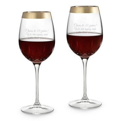Personalized Waterford Lismore Essence Gold Band Red Wine Glasses