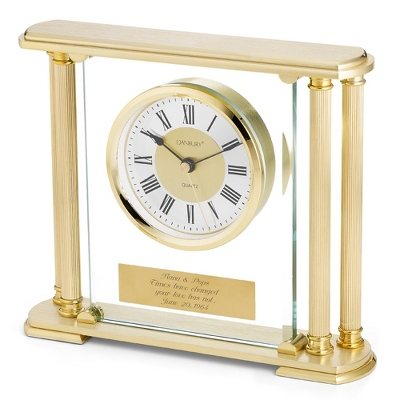 Gold Pillar Clock - Executive Gifts