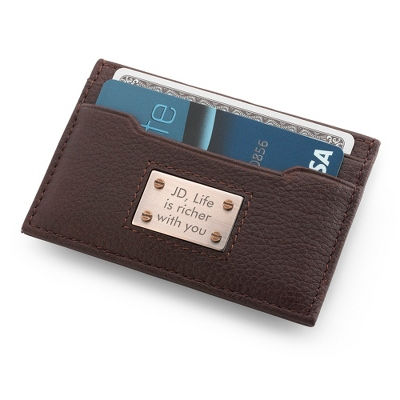 Men's Leather Money Clip Card Holder
