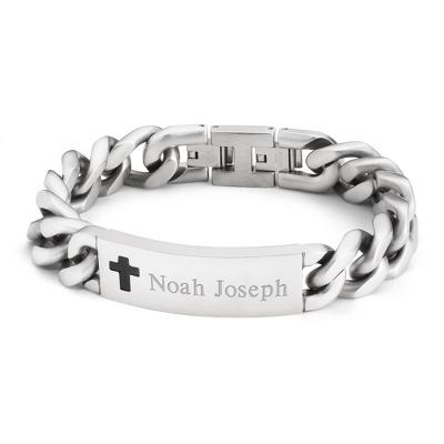 Boy's Cross ID Bracelet with complimentary Tri Tone Valet Box