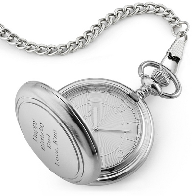 Mens Silver Battery Pocket Watch