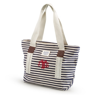 Denim Stripe Tote - Embroidered Totes & Accessories