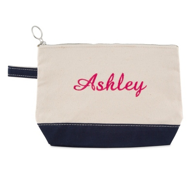 Natural and Navy Cosmetic Bag