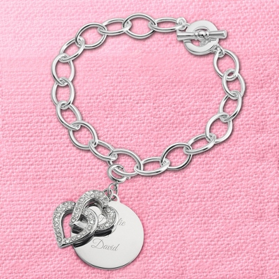 Intertwined Hearts Swing Charm Bracelet with complimentary Filigree Keepsake Box