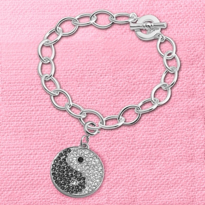 Yin and Yang Swing Charm Bracelet with complimentary Filigree Keepsake Box - Fashion Bracelets & Bangles