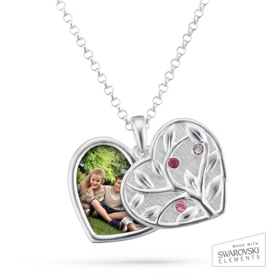 Sterling Silver 3 Birthstone Swing Heart Picture Pendant with complimentary Filigree Keepsake Box