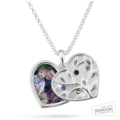 Sterling Silver 4 Birthstone Swing Heart Picture Pendant with complimentary Filigree Keepsake Box