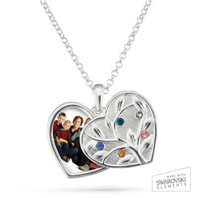 Sterling Silver 5 Birthstone Swing Heart Picture Pendant with complimentary Filigree Keepsake Box