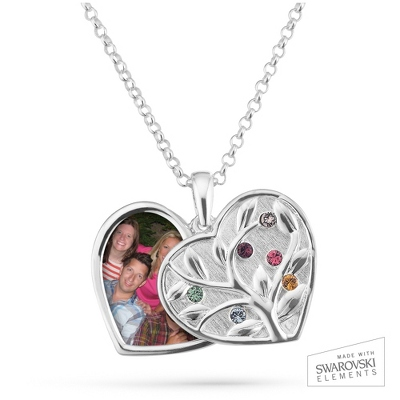 Sterling Silver 6 Birthstone Swing Heart Picture Pendant with complimentary Filigree Keepsake Box