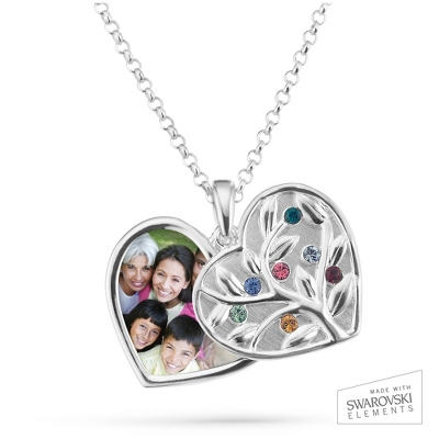 Sterling Silver 7 Birthstone Swing Heart Picture Pendant with complimentary Filigree Keepsake Box