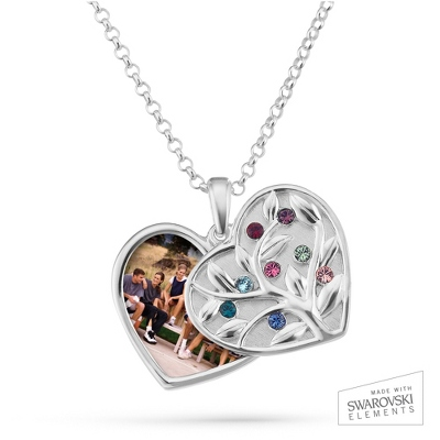 Sterling Silver 8 Birthstone Swing Heart Picture Pendant with complimentary Filigree Keepsake Box