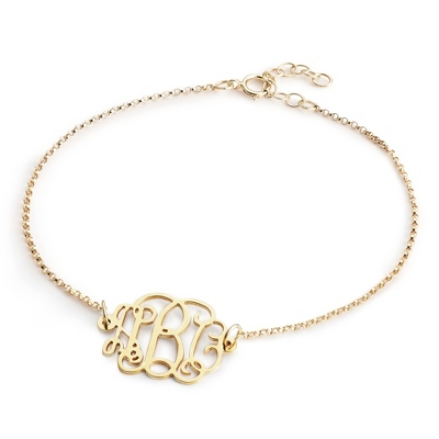 Gold over Sterling Fancy Monogram Bracelet with complimentary Filigree Keepsake Box