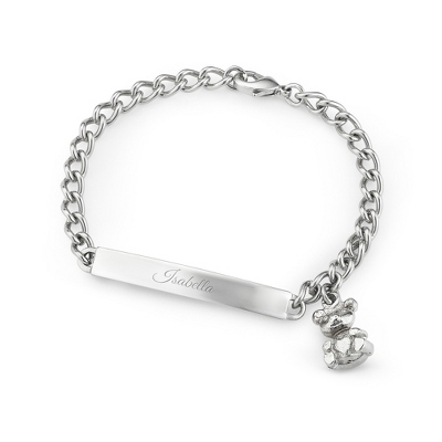 "Girls Stainless ""My First ID"" Bracelet with complimentary Filigree Heart Box"