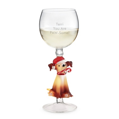 Christmas Dog Wine Glass - $45.00