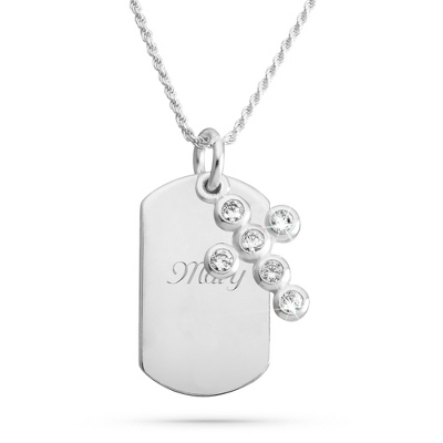 Sterling Silver Crystal Bezel Cross Necklace with complimentary Filigree Keepsake Box - $60.00